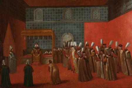 """Jean Baptist Vanmoor: """"L'ambasciatore Cornelis Calcon in un'udienza con Sultan Ahmed III"""""""