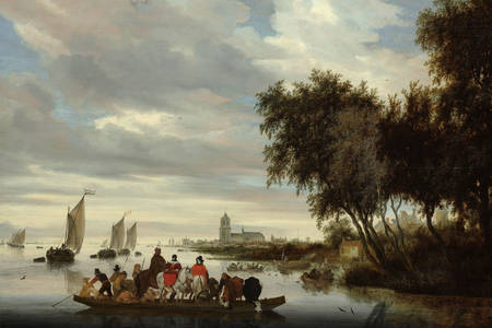 "Salomon van Ruysdael: ""River landscape with a ferry"""