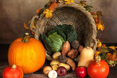Καλάθι με κολοκύθες και λαχανικά