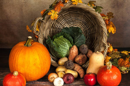 Basket with pumpkins and vegetables