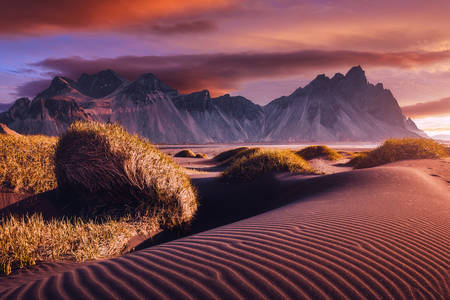 Sand dunes at Mount Vestrahorn