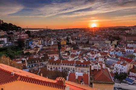 Coucher de soleil sur Lisbonne