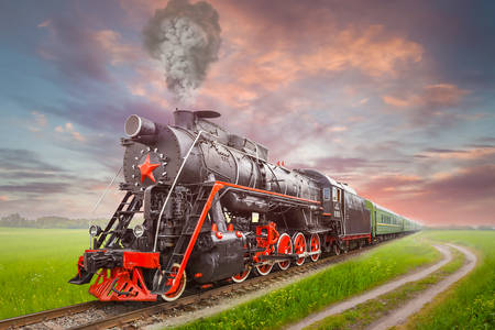Retro steam locomotive