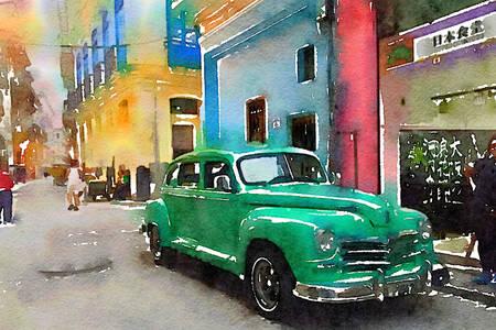 Retro auto v uliciach Havany