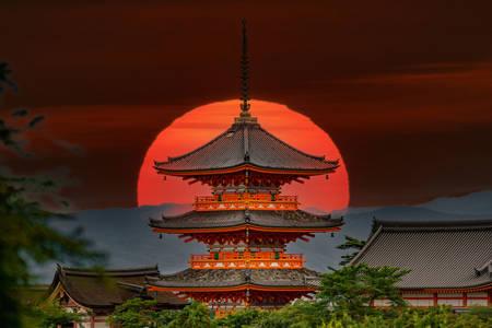 Old pagoda of Kiyomizu-dera temple at sunset