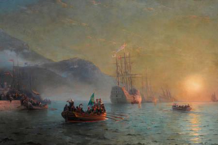 """Ivan Aivazovsky: """"Lebewohl von Columbus, bevor er zu einer Reise von Port-Strip in Spanien aufbricht"""""""