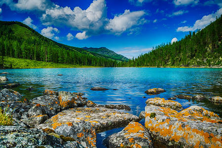Mountain lake on a summer day