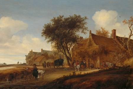"Salomon van Ruysdael: ""A village inn with stagecoach"""