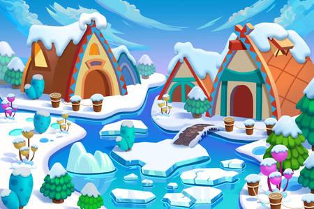 Fata villaggio invernale