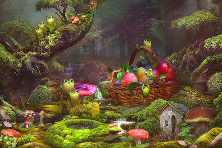 Frogs in a forest glade