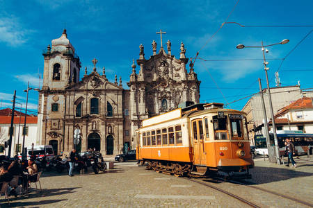 Carmo Church and retro tram in Porto
