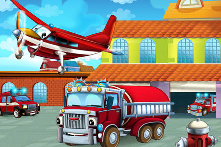 Camiones de bomberos y aviones
