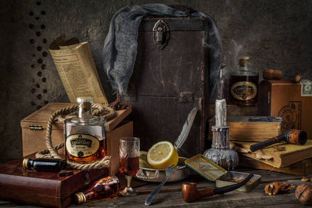 Antique items and cognac