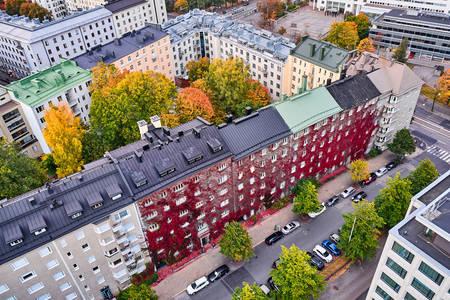 Pogled iz vazduha na kuće
