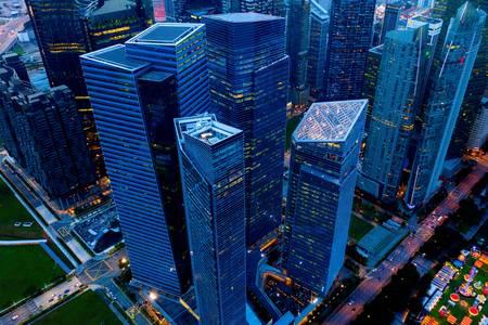 Szingapúr felhőkarcolók éjjel
