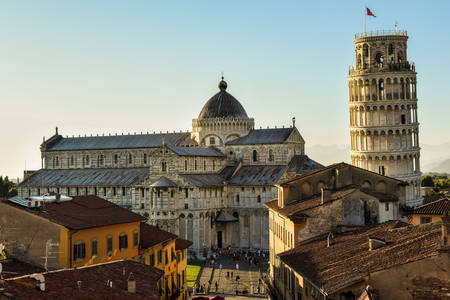 View of the Pisa Cathedral and the Leaning Tower