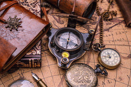 Map, compass and clock