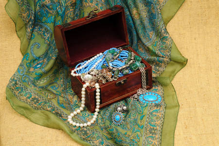 Jewelry in a wooden chest