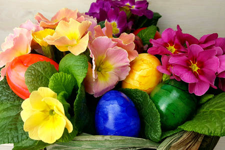Easter eggs and violets