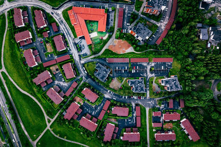 Aerial view of a small town in Finland