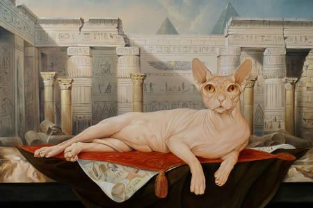 Gatto Sphynx in un tempio egizio