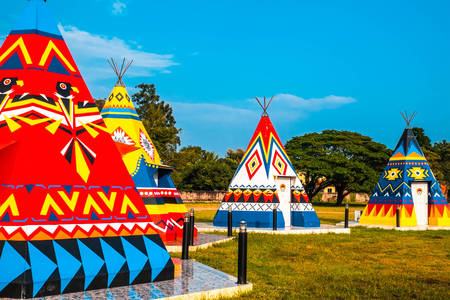 Multicolored Indian teepees
