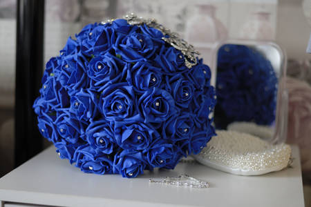 Wedding bouquet of blue roses