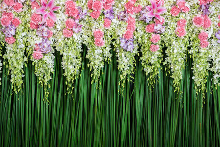 Flower wall for wedding ceremony
