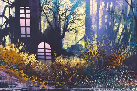 Illustratie met een huis in een boomstam
