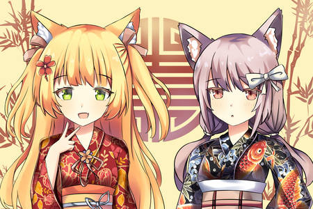 Filles chat en kimono