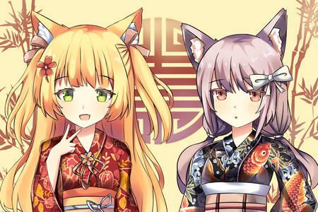 Cat girls in kimono