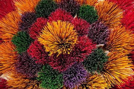 Multicolored incense sticks