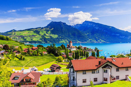 Spiez on the shores of Lake Thun