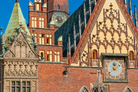 The architecture of the old town hall of Wroclaw