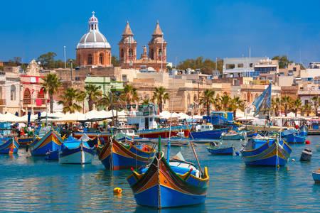 Colorful boats in the harbor of Marsaxlokk