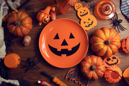 Halloween pumpkins and accessories