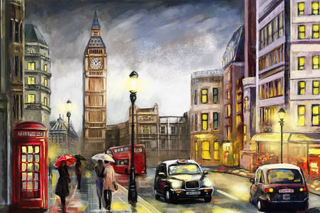 Rainy streets of London