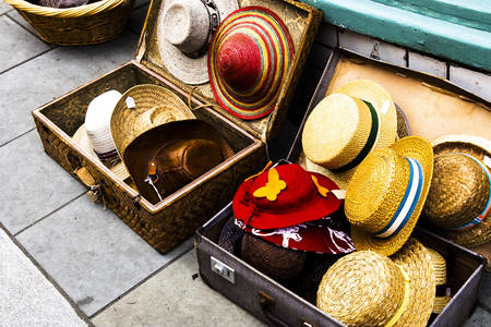 Original hats in suitcases