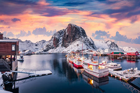 IJzige ochtend op de Lofoten-eilanden
