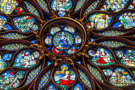 Fragment van een glas-in-loodraam in de kapel Sainte-Chapelle
