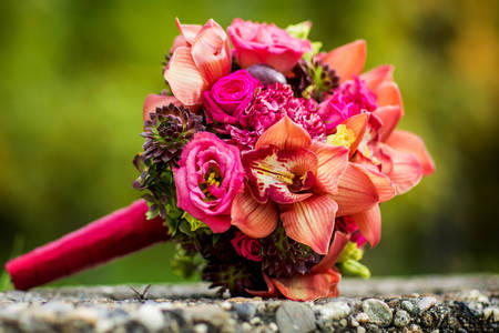 Bridal bouquet of pink flowers