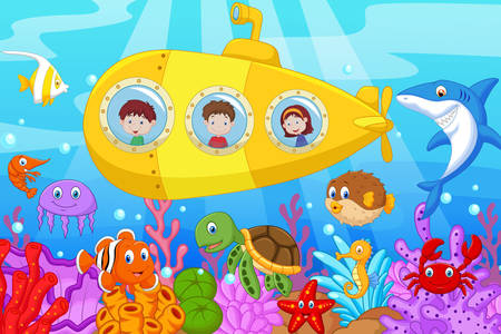 Children in a submarine