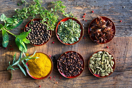 Spices on a wooden table