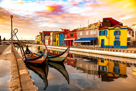 Boats on the canal in Aveiro