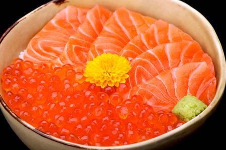 Salmon sashimi and red caviar