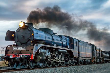 Smoking steam locomotive