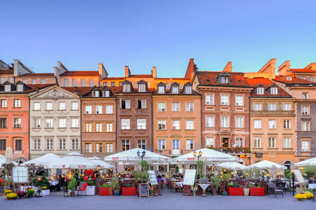 Facades of buildings in Warsaw