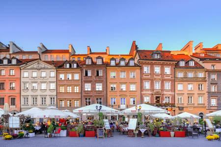 Facciate di edifici a Varsavia
