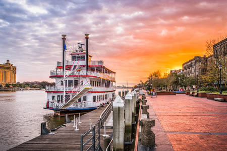 Sunrise on the waterfront in Savannah, Georgia