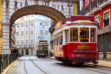 Retro trams on the streets of Lisbon